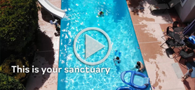 Timely video message conveys the benefits of a backyard oasis