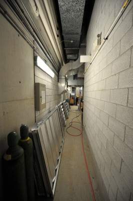 D 4-foot-wide mechanical room access hallway could only accomodate the dehumidier in 150 pieces