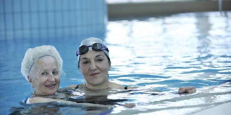 senior woman at swimming pool