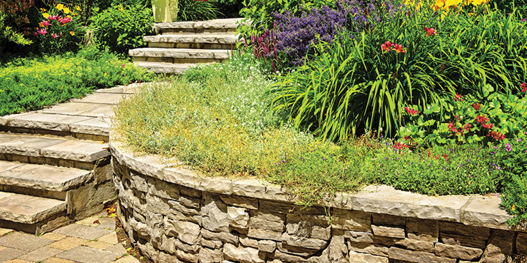 Natural stone landscaping in home garden with stairs and retaini