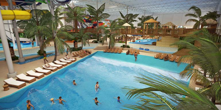 Valcartier Vacation Village's indoor waterpark wave pool. (CNW Group/Valcartier Vacation Village)