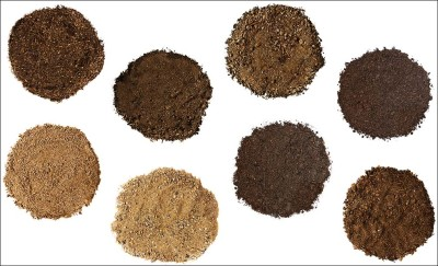 Set of Soil and Sand on White Background