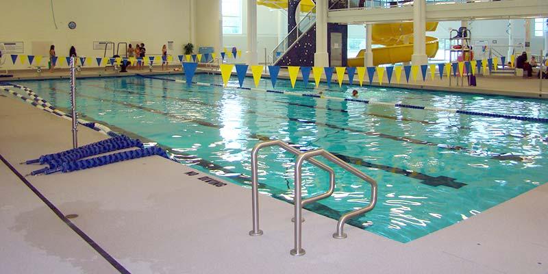 The pool deck at the Kenora Aquatics Centre in Kenora, Ont., has passes slip test.