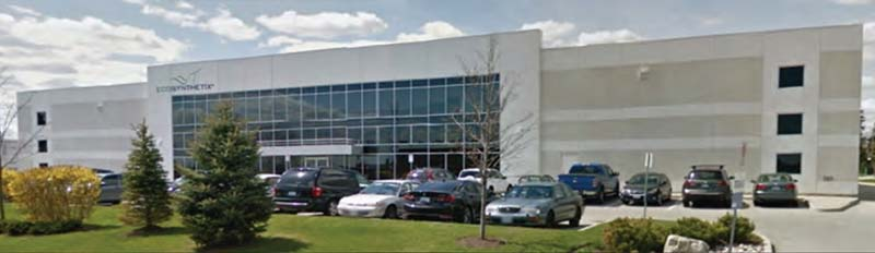The façade of Zodiac Pool Systems Canada's new Canadian headquarters.