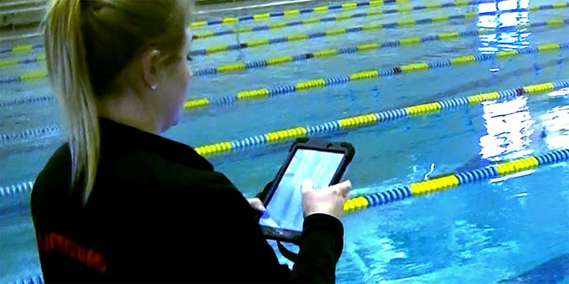 Pool operator using the Facility Manager app.