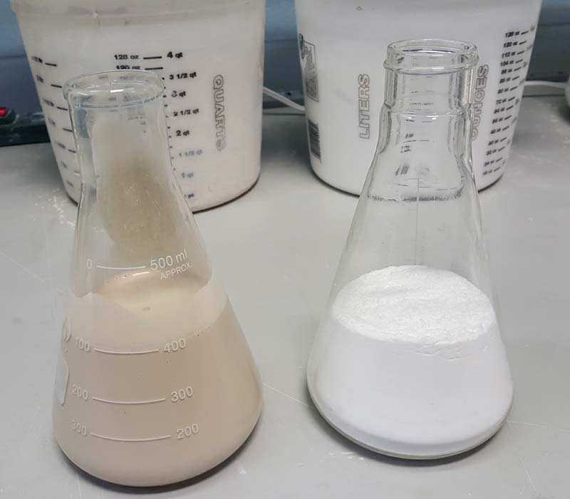 On the left is a concoction of dirt and oils filter manufacturers use to test cartridge filter media versus the silica-based test used by the standards organization.