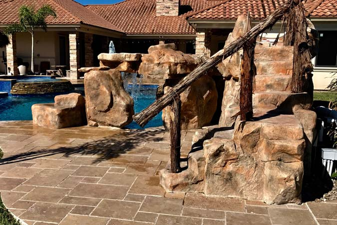 Manufacturers of component water features also offer systems that make it easy to build rock staircases.