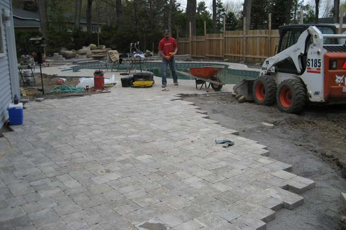Interlock concrete pavers installed on an aggregate sub-base.