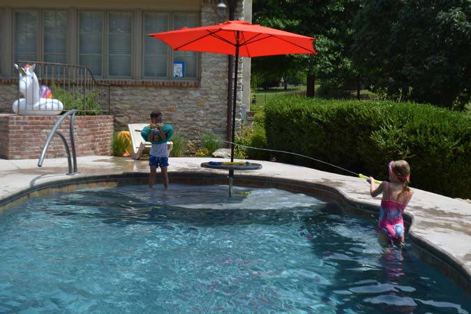 The middle-shallow section of the pool is often the perfect place to install a bench.