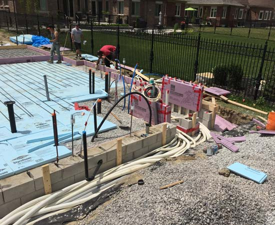 The excavation of the pool is commonly the first item scheduled, however, in this situation the footings for the cabana, as well as all of the utility services, had to be installed prior to commencing any other work.