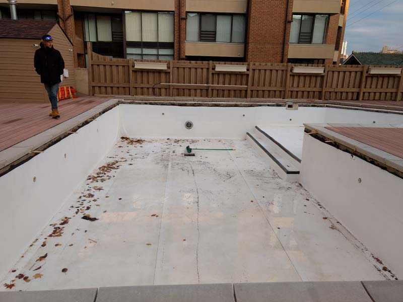 It became evident the pool, which is situated directly above a gated parking garage for residents, was leaking when water started to appear in the garage.