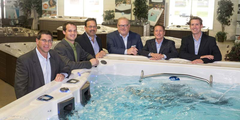 Master Spas executives from left to right: Mike Rees, vice-president of manufacturing, Nathan Coelho, vice-president of engineering, Sam Badiac, vice-president, Bob Lauter, CEO, Terry Valmassoi, president, and Kevin Richards, vice-president of marketing and sales.