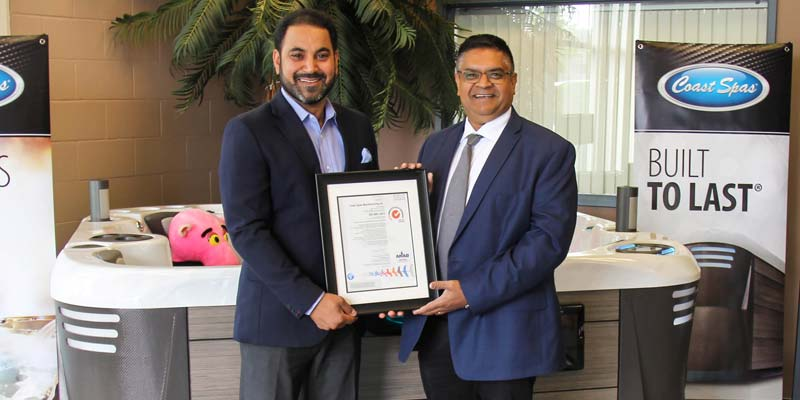 Coast Spa Manufacturing has received ISO 9001: 2015 Quality Management Systems (QMS) certification through SGS Systems, a leading certification company.