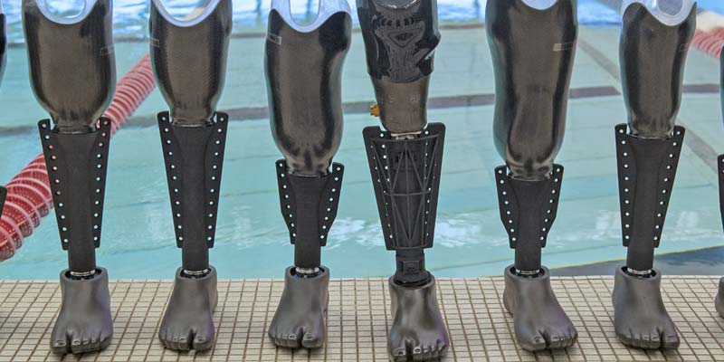 The Fin is the first 3D-printed prosthetic leg attachment to allow swimmers with amputations to go from water to land without the need to switch prosthetics.