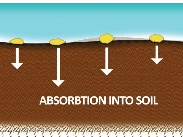 Lightly broadcast the crystalline material over the surface. Once lightly watered, the crystal will slowly start to merge with the top layer of soil.