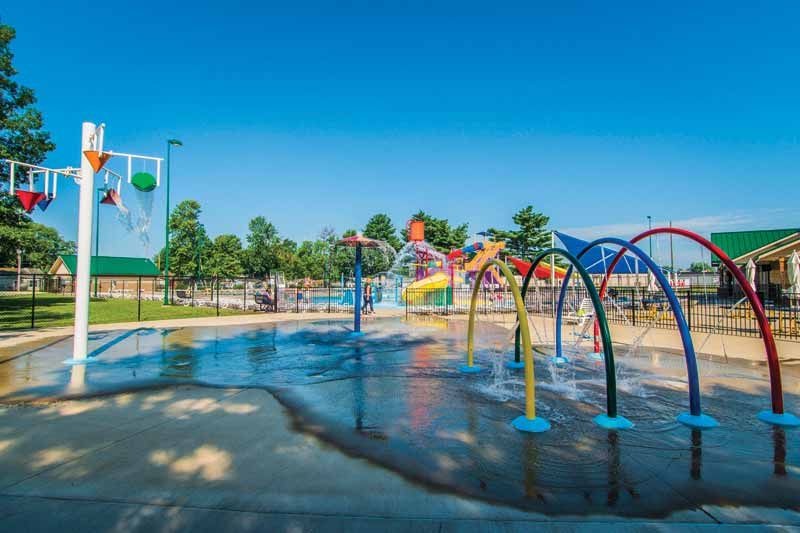 The splash pad's perimeter measured 144.8 m (475 ft) and used 9085 L (2400 gal) of water.