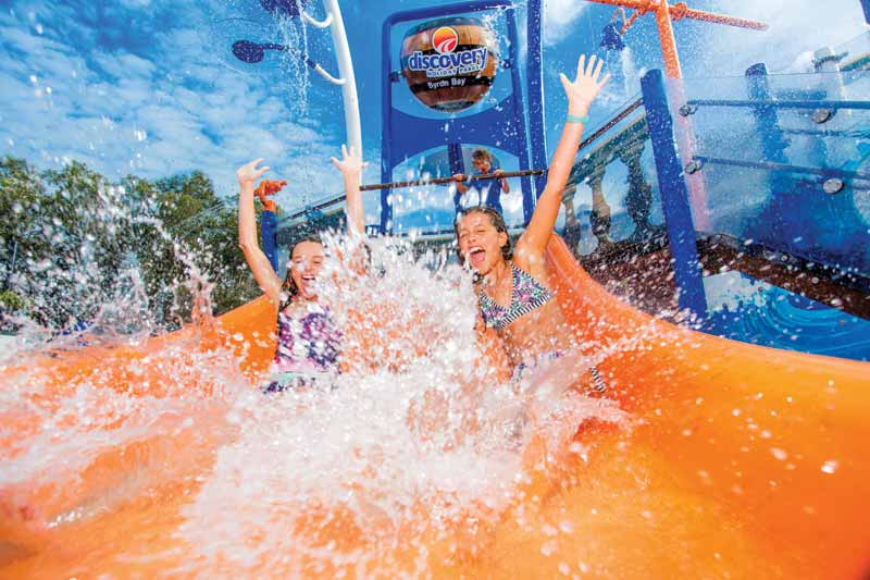 Kids and adults alike connect under the rush of the mega soaker, meet friends at the discovery stream, and build compassion taking turns at the waterslide.