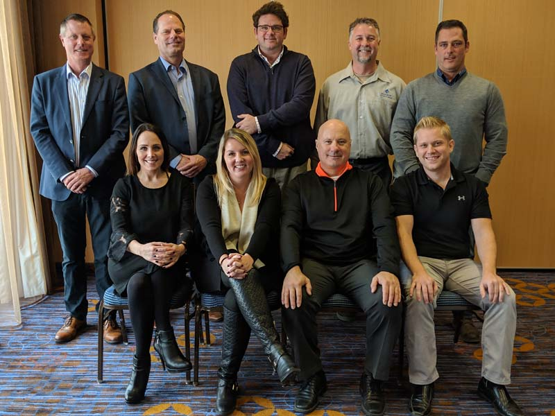 The Pool & Hot Tub Council of Canada (PHTCC) Toronto chapter recently announced its 2019 board of directors. Top row, left to right: Dave Warren (president), Tim Pettman (director), Leigh Hinsperger (director), Rob Kamstra (past-president), and Darren Hill (director). Bottom row, left to right: Crystal Lengua (director), Nicole Gray (director), Randy Nemez (director), and Brad Bryson (vice-president).