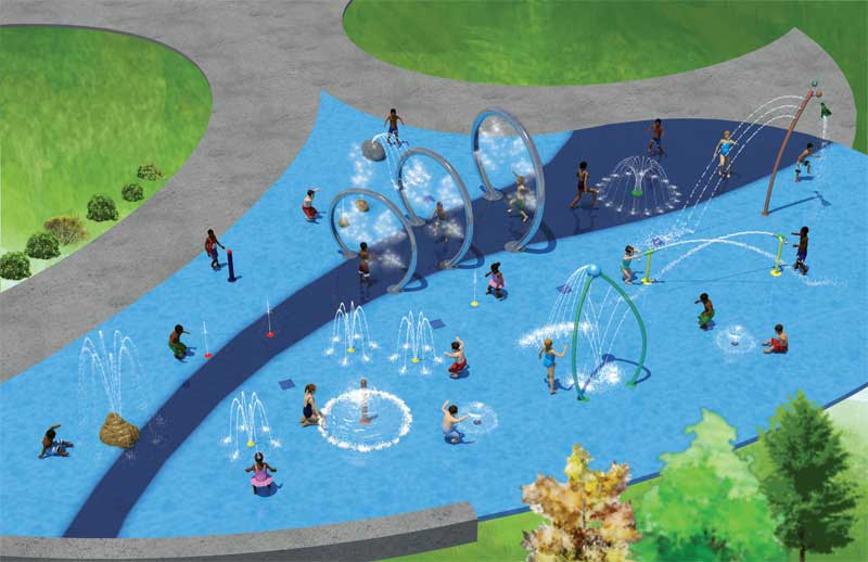 The new splash pad in Edmonton's River Valley area includes water and spray features, usable by all age groups, which are designed to foster inclusive play.