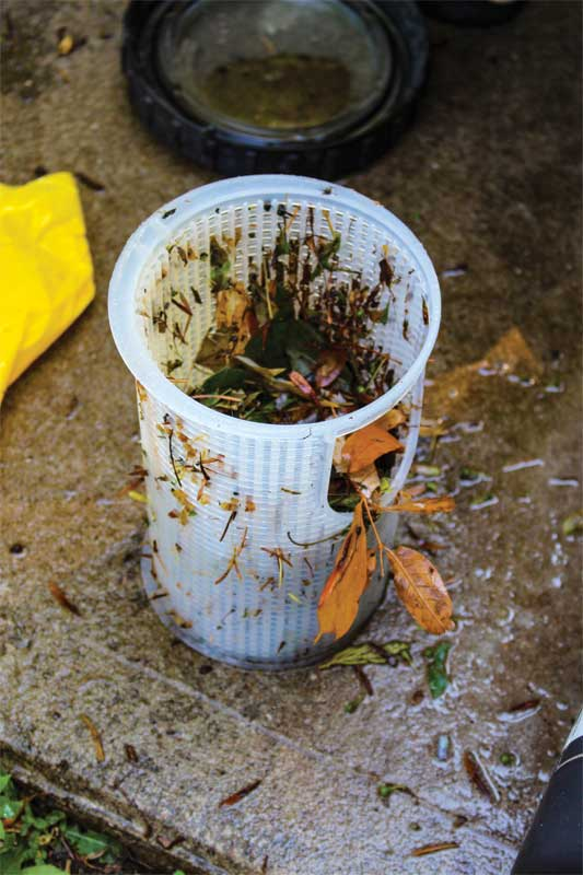 Skimmer baskets that are not cleaned regularly will become clogged with debris such as leaves, band aids, and other common waste found in pools.