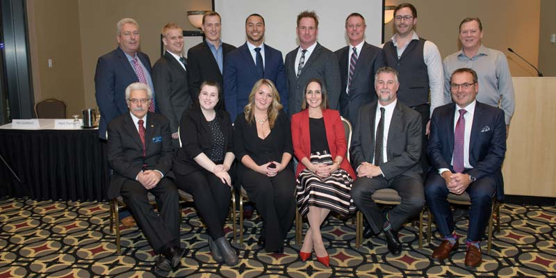 The Pool & Hot Tub Council of Canada (PHTCC) introduces the 2018-19 board of directors. Front row (left to right): Rodney Taylor, Kara Redden, Nicole Gray, Crystal Lengua, Rob Kamstra, and Markus Brunner. Back row (left to right): Roland Goodfellow, Brad Bryson, Jayme Sweeney, Alex Graham, Steve Vicente, David Warren, Nicolas Guillotte, and Gary Barber (representing B.C. Island chapter).