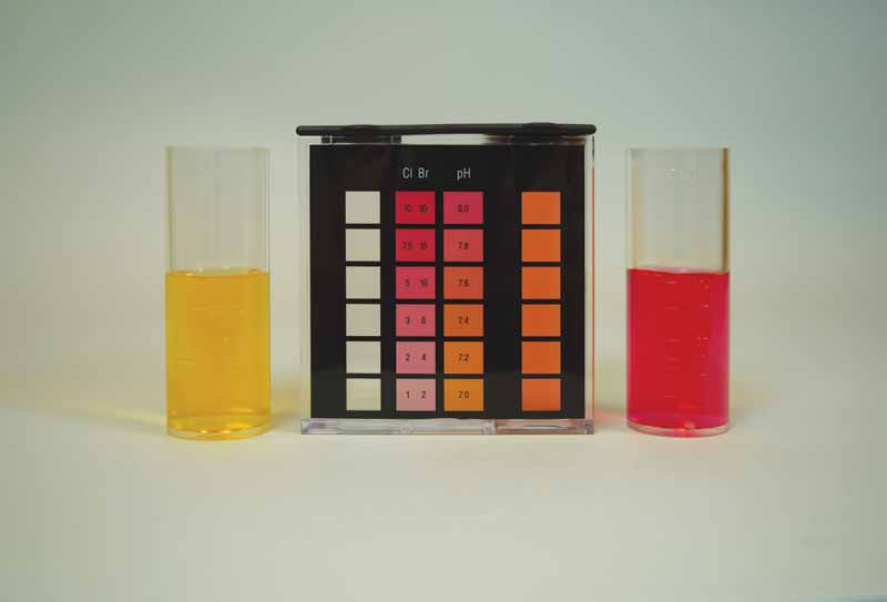 Phenol red is the acid-base indicator used for recreational water. The colour range when using phenol red is a graduated scale from yellow, when the sample is acidic, to red, when the sample is basic.