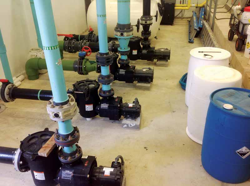 Some facilities may prefer to hide the pump room far from the pool but bringing this equipment closer makes the overall system much more efficient.