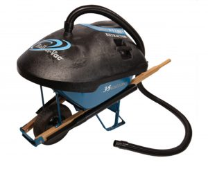 The Roll-n-Vac can be placed on a contractor grade steel wheelbarrow, which turns it into an industrial wet and dry extractor.