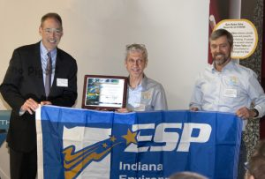 Indiana Department of Environmental Management's (IDEM's) commissioner Bruno Pigott (left) hands the Environmental Stewardship Program (ESP) award to Thurday Pools' chief financial officer Bill Khamis (centre) and chief operating officer Ed Vondell (right).