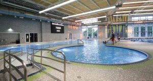 The leisure pool has an accessible beach entry with curves, which allows people with mobility issues, injury, or those who want to enter the pool slowly, to access the water with greater ease.