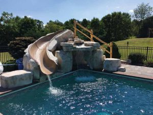 Many manufacturers offer component systems that allows installers to build rock staircases to incorporate slides into the structures.