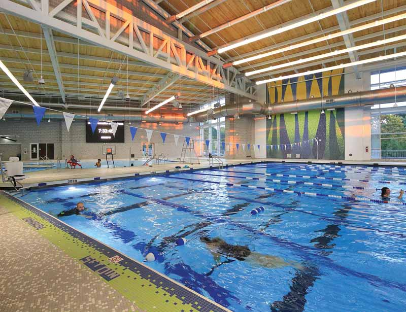 A 7.6- x 7.6-m (25- x 25-ft), eight-lane pool was built, which allows lap swimming as well as kayaking, scuba, and paddleboarding courses.