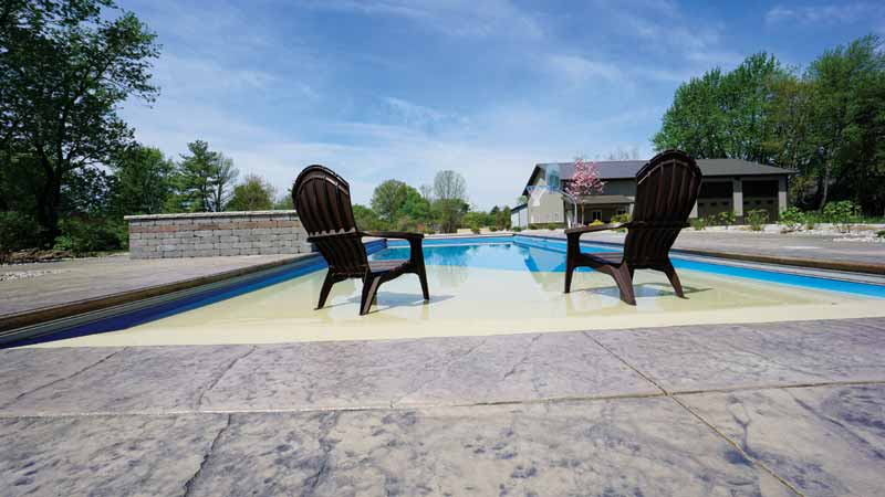 Fibreglass surfaces do not get damaged by any type of backyard furniture a customer might pull into the pool. One can even put an umbrella into the beach-entry area, right into the fibreglass floor, and enjoy the sun.