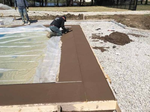 It is also advantageous to add a fabricated structure that supports the ledges with backfill and allows a sturdy and level installation. Typically, crushed stone or flowable fill is used under the beach-entry area. But, if the backfill is not completed properly, the ledge can feel hollow when stepped on.
