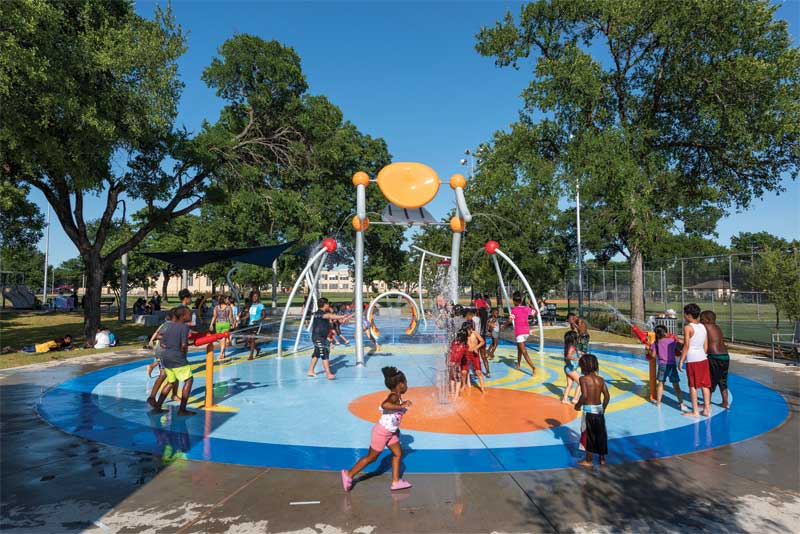 Different areas within a splash pad are designed to attract and encourage a wide range of patrons. Also, using a variety of water features, flow, spacing, size, and colour can make the facility even more accessible to