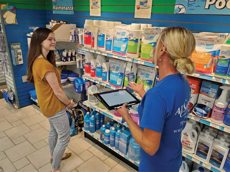 Integrating the two systems not only gives staff more time to share their knowledge of water chemistry, but also gives them the opportunity to learn more about each customer's unique backyard needs and focus their attention on selling additional products and services to fulfil them.