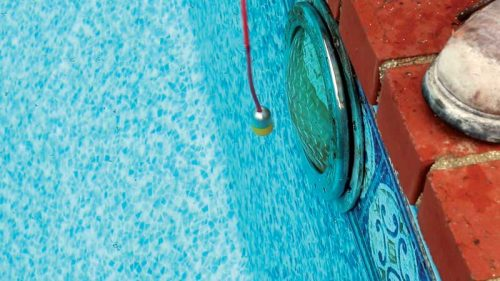 When a pool leaks, the weight of the water pushing out of a crack creates a distinct sound, which can be picked up by a hydrophone. The closer the hydrophone is to the leak, the louder it becomes.