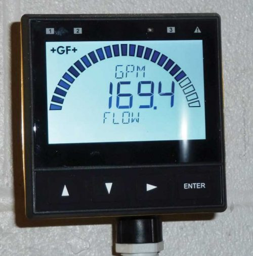 The flow meter measures the flow of water through the solar loop and records it on a local screen.