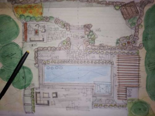 A lot of time was spent sketching various layouts, trying to determine the best location for each activity. A design which comprised a series of outdoor rooms that would suit the family's favourite outdoor activities was prioritized.
