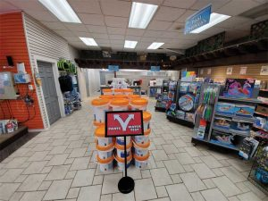 Chlorine buckets can be especially helpful in creating aisles to direct the flow of customers in and out of the store.