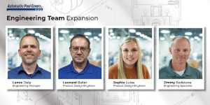 Automatic Pool Covers has hired four new engineers—Lance Delp, Sophie Lutes, Leonard Baker, and Jimmy Redstone.