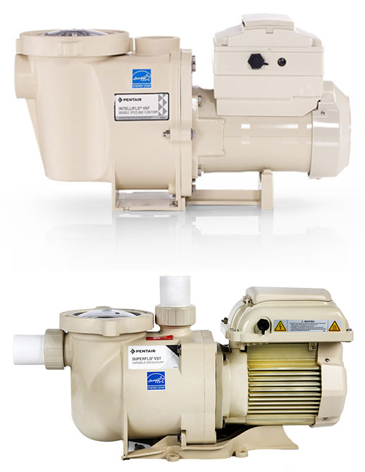 IntelliFlo® VSF Pump (top) is the first variable-speed pump (VSP) and flow pump that adjusts to changing system conditions. Designed for practical owners, the SuperFlo VST pump (bottom) has a dependable and robust fully enclosed fan-cooled motor and can adapt to 115V or 230V and 50hz or 60hz power with no special wiring or switching.