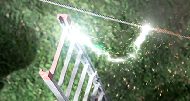 The object does not have to make physical contact with an overhead powerline to cause serious injury or death as electricity can jump (arc) to an object one is holding.