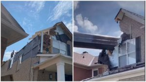 """TikTok user """"datzmylife"""" recently shared a video showing a crane that had crashed into her parent's Richmond Hill, Ont. home during a pool installation."""